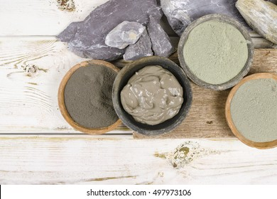 Ancient minerals - green and blue clay powder and mud mask for spa, beauty concept