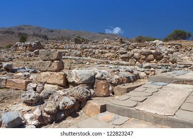 Ancient Minoan palace of Kato Zakros at Crete island in Greece