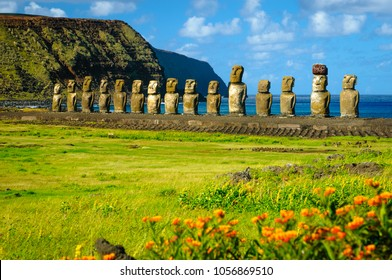 The ancient moai of Ahu Togariki, on Easter Island, some 2,000 miles off the coast of Chile.