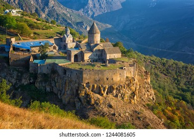 Ancient monastery in sunrise. Tatev. Armenia
