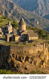 Ancient monastery in sunset. Tatev. Armenia