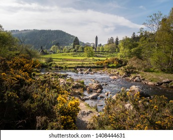Ancient monasty in Glendalough Wicklow Mountains of Ireland - travel photography