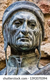 ancient monument of Dante Alighieri in Florence, Italy