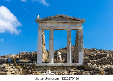 The ancient monuments and ruins on the sacred island of Delos, Greece. The birth place of god Apollo.