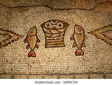 Ancient mosaic inside the Church of the Multiplication of the Loaves and the Fishes, Tabgha, Israel
