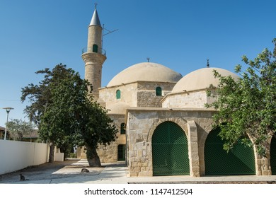 The ancient mosque Hala Sultan Tekkes near the shore of the salt lake in Cyprus in Larnaca