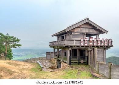 Ancient mountaintop castle of the Kino-jo castle in Okayama, Japan