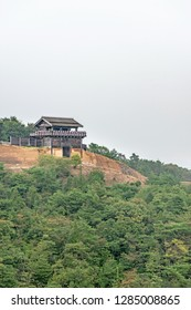 Ancient mountaintop castle of the Kino-jo castle in Okayama, Japan