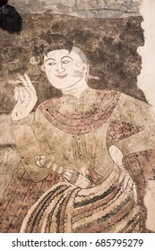 Ancient mural painting at Wat Phumin, Thailand.