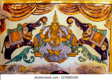 Ancient murals painting of the Chola period found on the walls of the Brihadeeswarar temple, Thanjavur, India. The temple is one of the UNESCO World Heritage Sites.