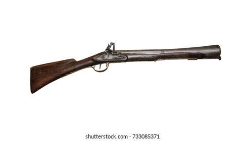 Ancient musket or pistol isolated on white background.
