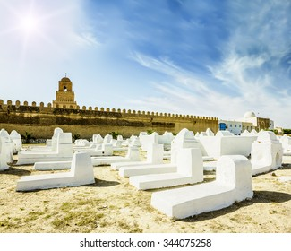 The ancient Muslim cemetery across from the mosque in Kairouan in Tunisia on a sunny day