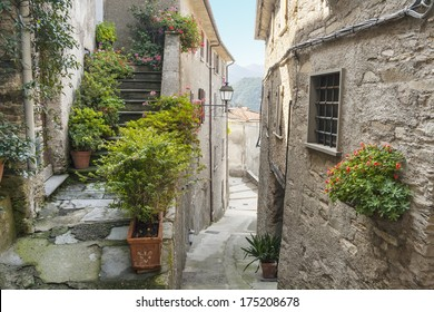 ancient narrow alley in small town Pruno
