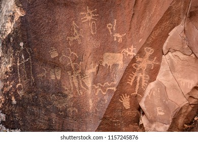 the ancient native american newspaper rock petroglyphs near  canyonlands national park, utah