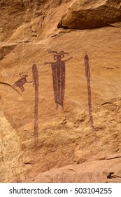 ancient native american  Pictographs at Head of sinbad, in san rafael swell,  utah