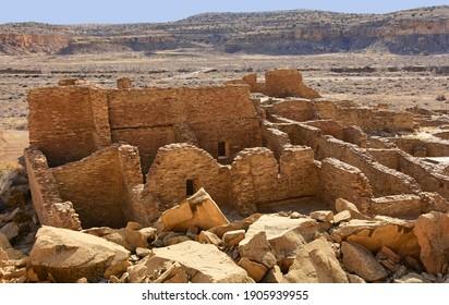 the ancient native american ruins of pueblo bonito in chaco culture national historical park on a sunny winter day near farnmington, new mexico
