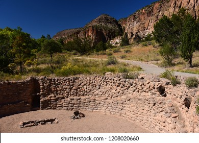 ancient native american ruins of tyuonyi pueblo at bandelier national monument, near los alamos, new mexico