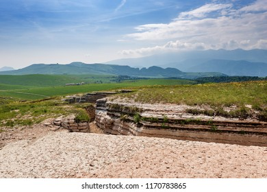 Ancient natural trenches of the First World War. Regional Natural Park of the plateau of Lessinia, Veneto, Verona, Italy, Europe