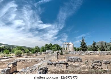 Ancient Nemea, the temple of Zeus in Greece