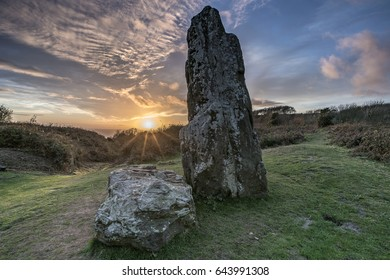 Ancient Neolithic Stone at Mottistone on the Isle of Wight