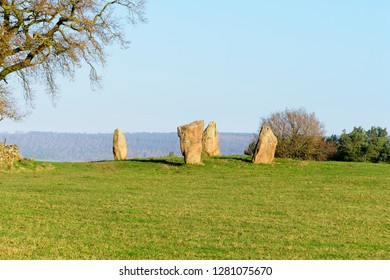The ancient Nine Stone Circle standing stones in Derbyshire