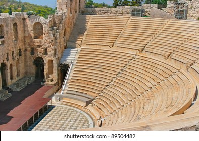 Ancient Odeon of Herodes Atticus theater on Acropolis hill in Athens, Greece