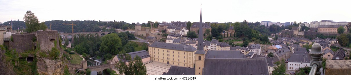 Ancient Old City Wall In Luxembourg. Panorama
