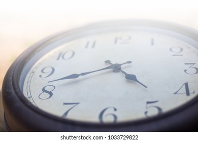 ancient old clock with number time  business hour symbol vintage close up