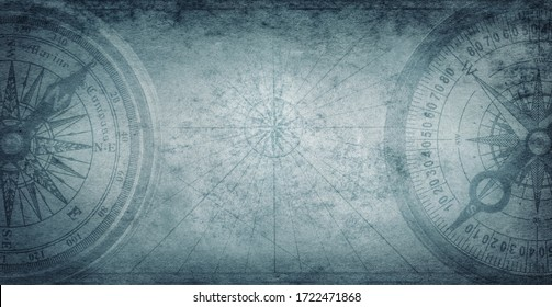 Ancient old compass on the vintage map background. Adventure, discovery, navigation, geography, education, pirate and travel theme concept background. History and geography team. Retro stale.