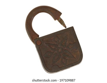 The ancient old copper lock without a key. Isolated