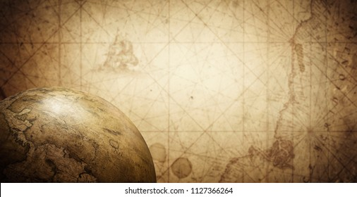 Ancient old globe on the vintage map background. Selective focus. Retro style. Science, education, travel, vintage background. History and geography team.