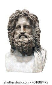 Ancient old roman marble head of Zeus isolated white background - marble bust of Zeus