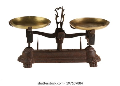 Ancient old scales of lever type with the weight.  isolated