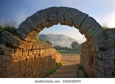 "ANCIENT OLYMPIA, GREECE- October 18, 2014. The ""Crypt"", the entrance to the stadium of Ancient Olympia, birthplace of the Olympic Games, Ilia (""Elis"") prefecture, Peloponnese."