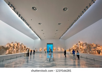ANCIENT OLYMPIA, GREECE -October 18, 2014 .The hall dedicated to the Temple of Zeus in the archaeological museum of Ancient Olympia, Ileia, Peloponnese.