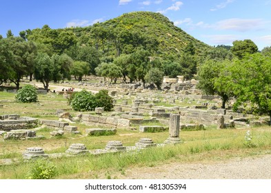 ancient Olympia hill and columns from the east side of the archaeological place