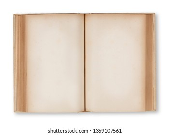 Ancient open book with two blank pages. Clipping path on book