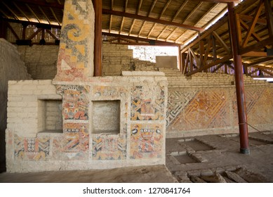 Ancient ornaments on the Walls near Senora Cao Tomb in Huaca Cao Viejo (the temple built and painted by the Moche culture, about I century A.D. and was abandoned in 600 A.D), near Trujillo, Peru.