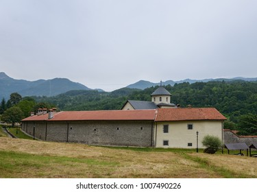 The ancient orthodox monastery Moraca in mountains of Montenegro.