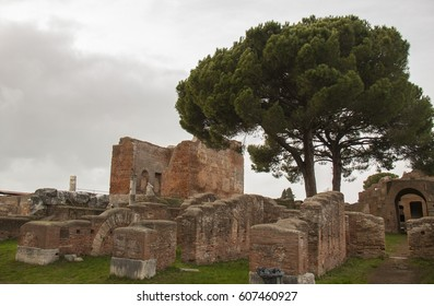 Ancient Ostia Antica in winter. Exceptional ruins of the Roman Empire.