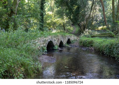 "An ancient packhorse and cart bridge over the Burry Pill stream, in Cheriton Valley, Gower, Wales, which was recorded in a survey in the reign of Elizabeth I as ""Stone Bridge""."