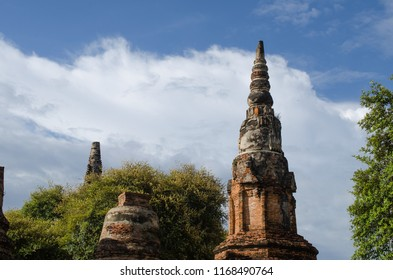Ancient Pagoda in archaeological site at Ayutthaya Thailand.