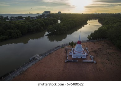 Ancient pagoda Located in the middle of the water taken from drone