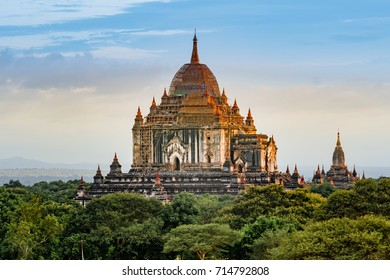 Ancient pagoda, Thatbyinnyu Temple, landscape of Bagan, Myanmar. The Thatbyinnyu temple is one of the tallest temples of Bagan.