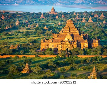 Ancient pagodas in Bagan with altitude balloon Myanmar