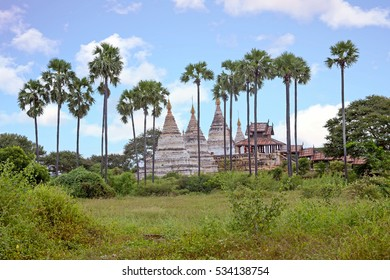 Ancient pagodas in the countryside from Bagan in Myanmar