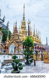 Ancient pagodas in Phra That Suthon Mongkhon Khiri temple, Thailand.