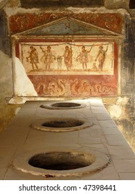Ancient painted wall fresco at the ancient Roman city of Pompeii, which was destroyed and buried during the eruption of Mount Vesuvius in 79 AD