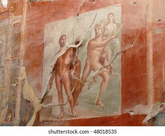 Ancient painted wall fresco at the ancient Roman city of Herculaneum, which was destroyed and buried during the eruption of Mount Vesuvius in 79 AD