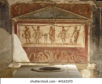 Ancient painted wall frescoes at the ancient Roman city of Pompeii, which was destroyed and buried by ash during the eruption of Mount Vesuvius in 79 AD
